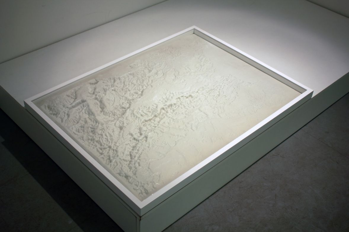 relief plastic map, 70x100 cm (framed)