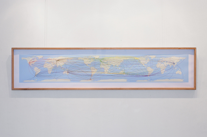 Worlds Routes Map (2010) installation view, The Big Wave, Varna City Gallery, 2010
